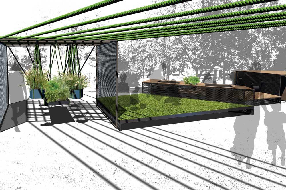Hochbeet und Grillplatz der Kiezoase, Master-Projekt an der UdK