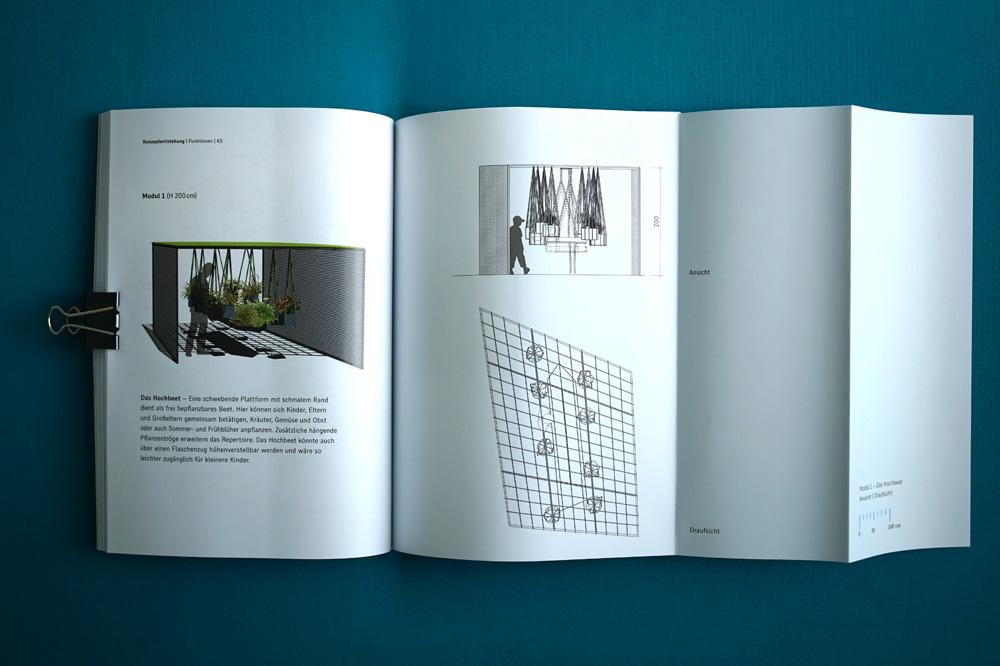 Dokumentation der Kiezoase mit Visualisierung und Plänen des Hochbeets, Master-Projekt an der UdK