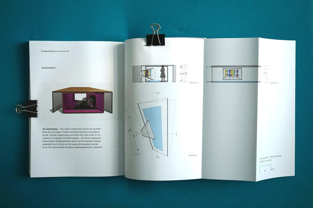 Dokumentation der Kiezoase mit Visualisierung und Plänen des Kaleidoskops, Master-Projekt an der UdK