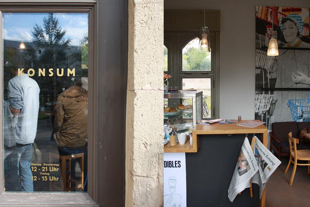 Eingangstür und Theke im Café Konsum, Design Campus der Burg Giebichenstein Hochschule für Kunst und Design