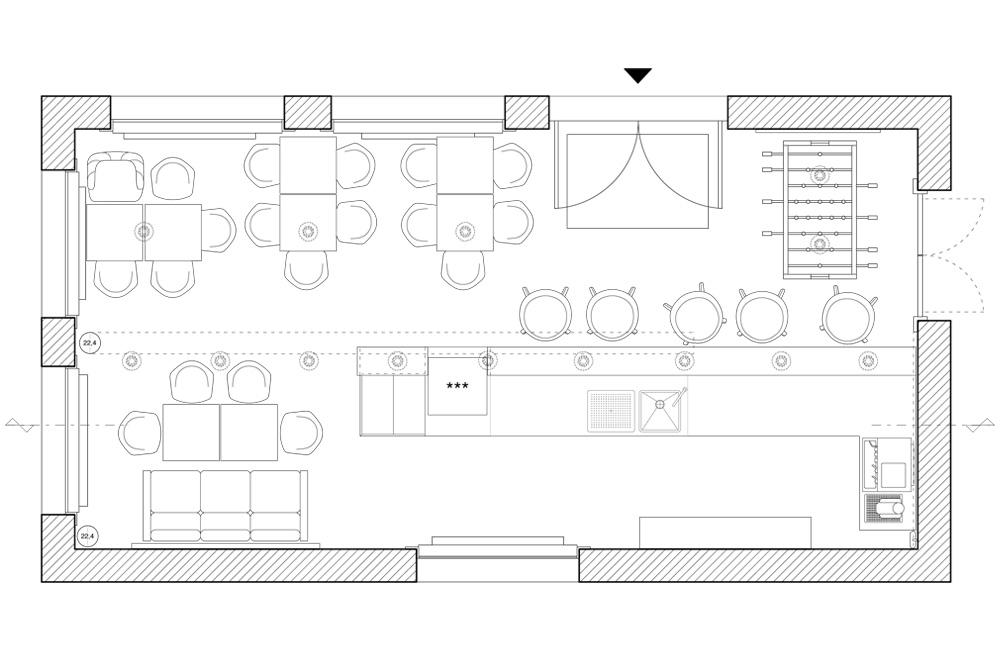 Grundriss des Café Konsum, Design Campus der Burg Giebichenstein Hochschule für Kunst und Design