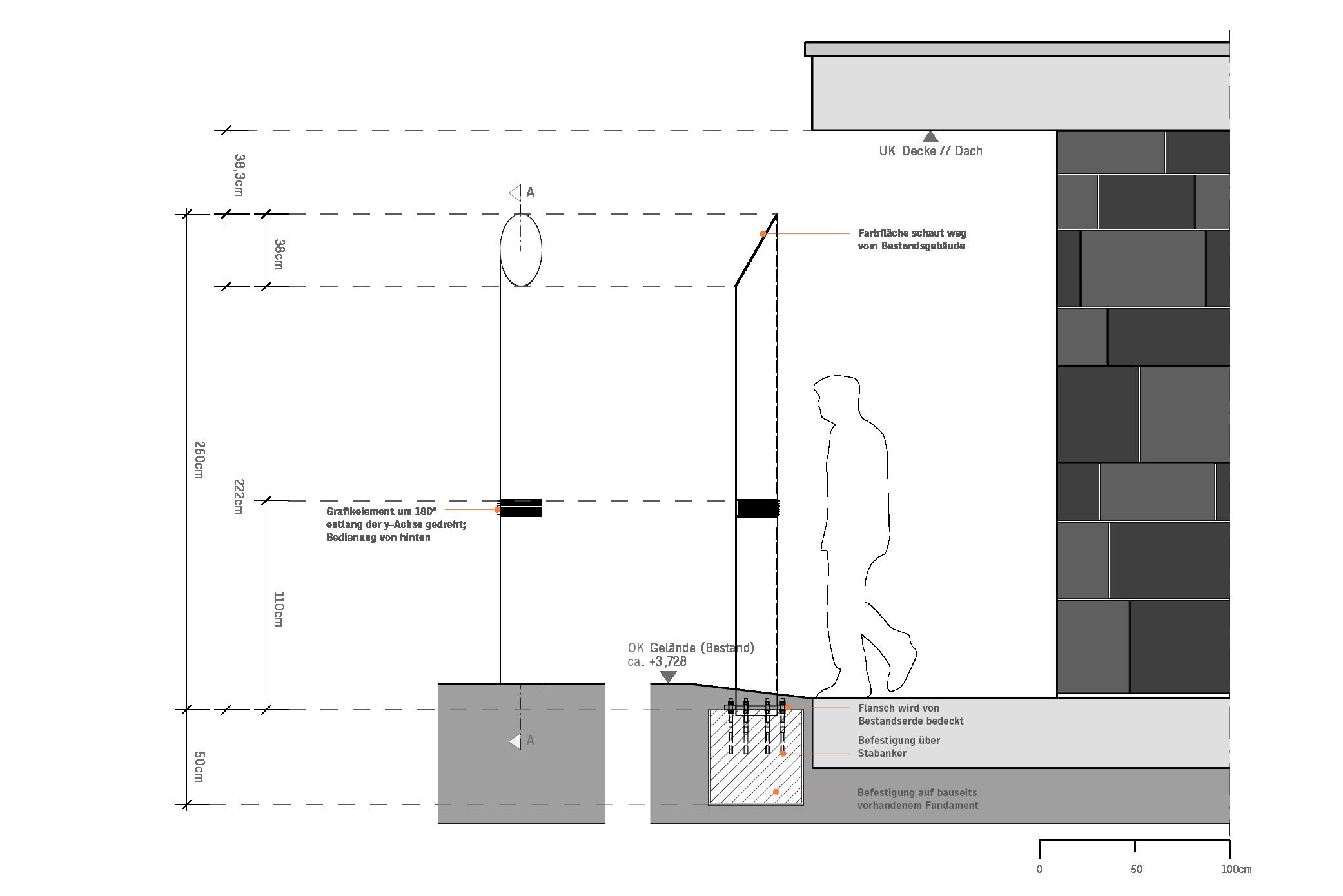 Planzeichnung Positionierung Pylonen